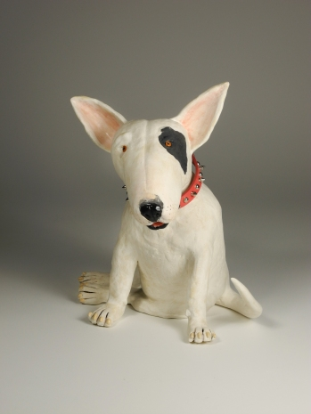 """Bullie T,"" ceramic bull terrier with pink spiked leather collar, 14"" x 11"" x 10"", $550."