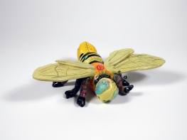 """Large Garden Bee,"" ceramic bee, can be hung on wall or fence or placed on table or shelf, 4"" x 10"" x 16"", $225."