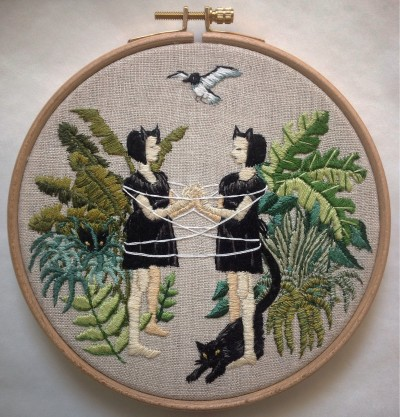 """""""Cat's Cradle,"""" embroidery on linen, 6"""" framed in wooden hoop with finished back, $300."""