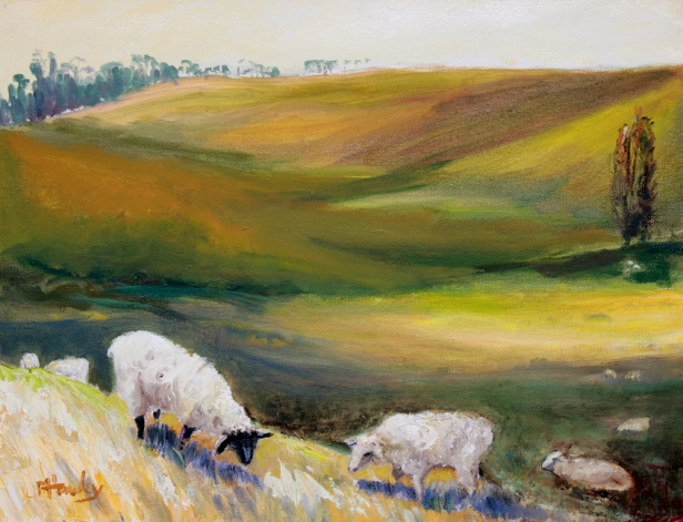 "SOLD. ""Peaceful Pastures,"" painted on location, plein air, in Petaluma, CA, oil on canvas, 12"" x 16"", $450."