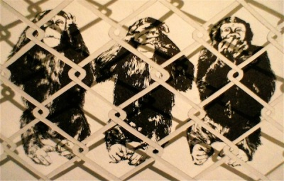 """""""Caged,"""" paper and sumi ink, 1' x 1', $300."""