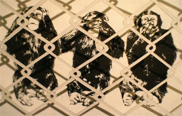 "SOLD! ""Caged,"" paper and sumi ink, 1' x 1', $300."