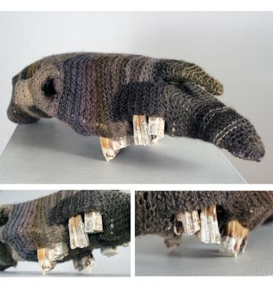 """Mending Ways: Horse, Colic,"" found horse skull, wool/acrylic yarn, approx. 18"" x 12"" x 8"", $400."