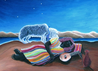 """""""Let Sleeping Gypsies Lie (after Rousseau) #3,"""" oil on canvas, museum glass, $1,250."""