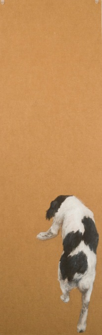 """Abandoned Dogs,"" acrylics on cardboard, 36"" x 11"", $400."