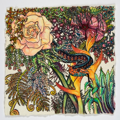 """overflow (in every garden is a snake), watercolor, ink, handmade paper, 12"""" x 12"""", $100"""