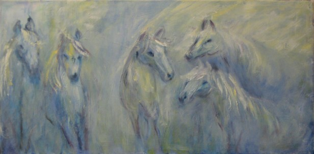 SOLD. Blue Horses #2, Oil on canvas, 12 x 24, $400.