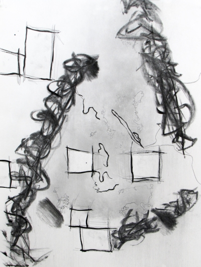 """""""Chronemic,"""" paper, pencil, ink, and charcoal, 24"""" x 18"""", $150."""
