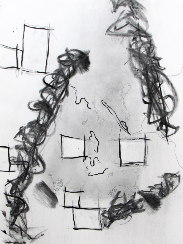 """Chronemic,"" paper, pencil, ink, and charcoal, 24"" x 18"", $150."