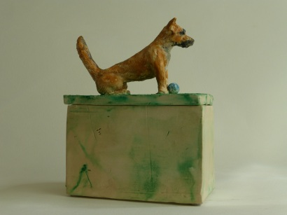 "SOLD! ""Angel Dog – Baller Extraordinaire,"" hand-built ceramic sculpture, earthenware clay, encaustic paint, glass seed beads, (approximate): 7.5"" (h), 5.5"" (d), 3.25"" (w), [box inner dimensions: 3.5"" (h), 4.75 (d), 2.5"" (w)], $400.00"