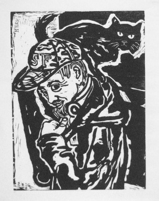 "SOLD. ""Minna Street Cat"" woodcut, 13"" x 17"" unframed, 20.5 x 28.5 framed, $150."