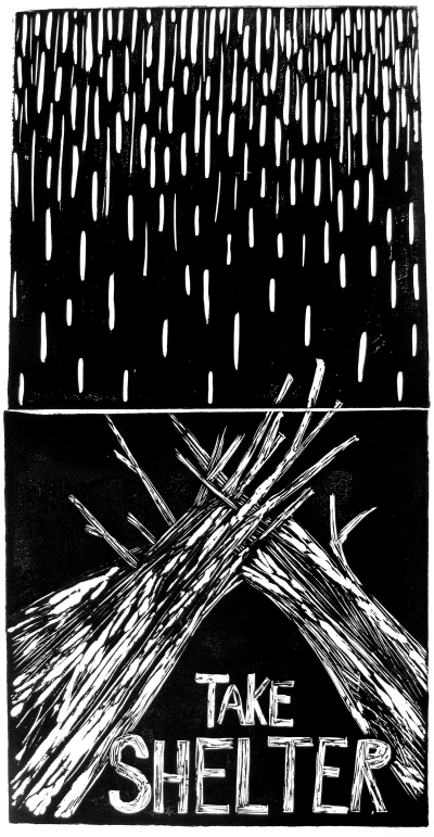 "SOLD. ""Take Shelter,"" block print, ink on paper, 22"" x 28"" framed, $150."