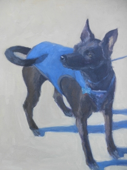 """""""Roolie,"""" oil on linen mounted on wood, wood frame, 12"""" x 16"""", $900."""