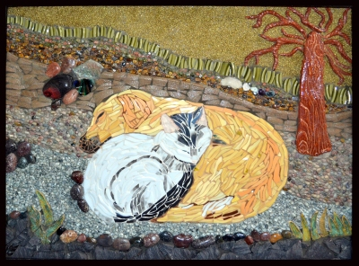 """""""Love Without Boundary,"""" ceramic, rocks, unakite & tiger eyes stone chips, fused glass, 27.5 x 21.5"""", 14lbs, $1,800."""