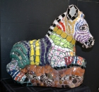 """Zebra 'Zibu,' China ceramic, glass, buttons, marbles, acrylic jewels, 23"" x 23"" 11"", $2,000."