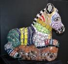 """""""Zebra 'Zibu,' China ceramic, glass, buttons, marbles, acrylic jewels, 23"""" x 23"""" 11"""", $2,000."""